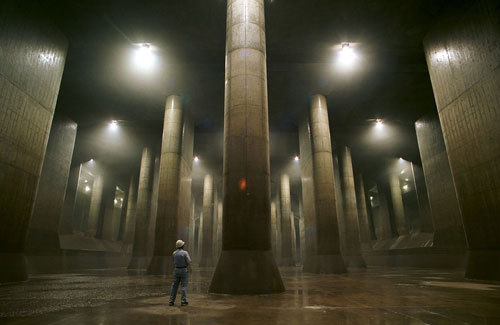Giant underground water tank