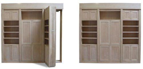 Secret Bookcase Door Built Into Cabinets