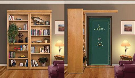 Folding bookcase conceals vault door.