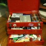 Tool box used as stash box for supplies