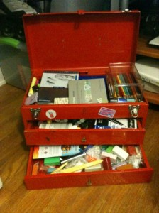 Tool box used as stash box for supplies