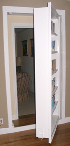 Swing-out secret bookcase door