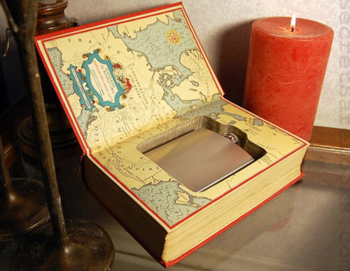 Hollow Book Safe Hiding a Flask