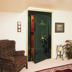 Green secure vault door installed by Liberty safe