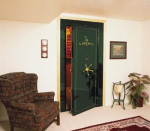 Green secure vault door installed by Liberty safe