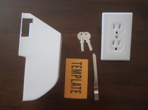 Wall Socket Stash Safe comes with safe, cover plate, 2 keys, a hole cutout template, and a drywall saw