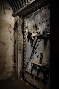 Old heavily reinforced steel door
