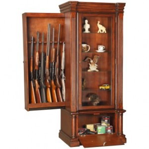 Secret compartment drawer in furniture for long guns
