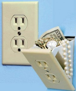 Secret electrical wall socket stash safe conceals valuables