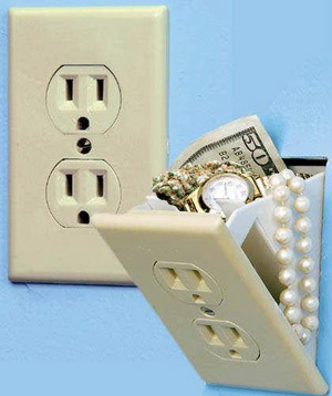 Secret electrical socket stash safes