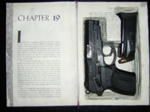 Homemade custom hollow book hides gun and ammo