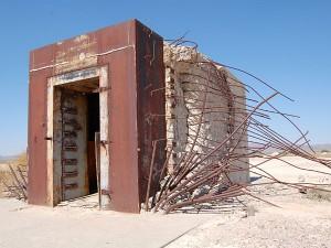 Bank vault in Nevada test site after atomic blast