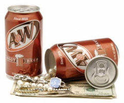 Can safe made from real A&W root beer can filled with loot