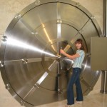 Large stainless vault door at Club Aston Martin