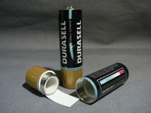 Battery stash safe with secret compartment