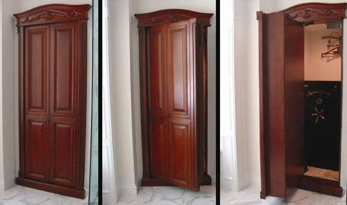 Tall Built-In Cabinet Swings Out to Become Secret Door to Hidden Vault
