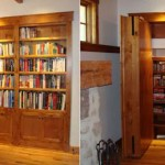 Secret bookcase door opens outward to reveal hidden room