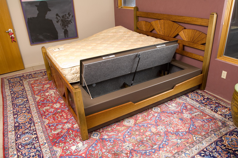 Bed bunker under mattress gun safe and storage stashvault for Bedroom furniture gun safe