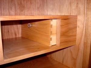 Secret compartment drawer concealed in shaker desk furniture