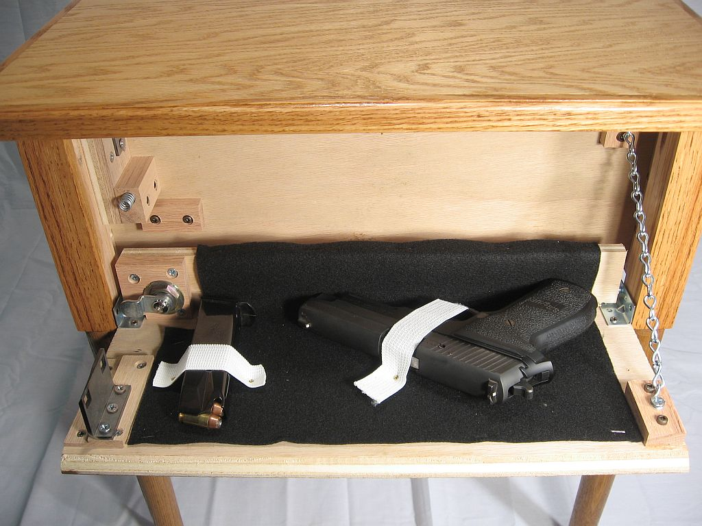 Marvelous End Table With Secret Firearm Compartment