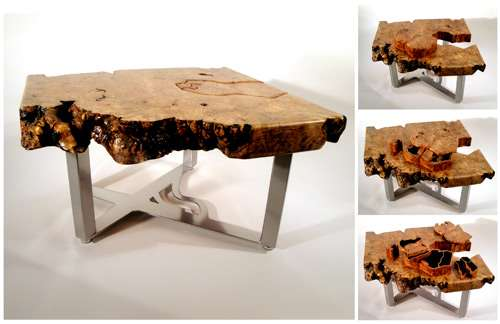 Wood table furniture secret compartments scott dworkin for Furniture w hidden compartments