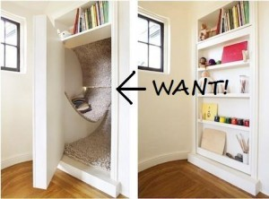 Hidden nook behind custom bookcase door