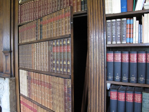 Secret Faux Bookcase Door in Castle Library