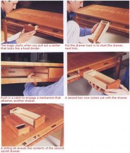 Hidden drawers in wooden desk