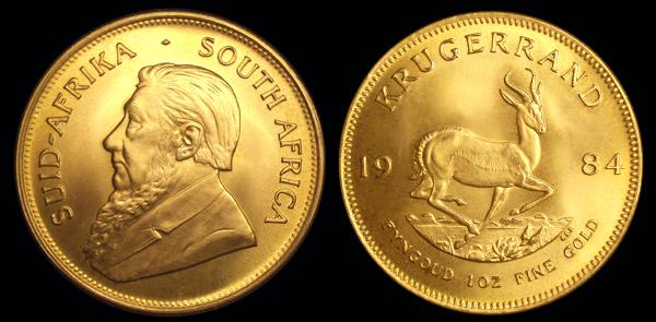 Gold Bullion Krugerrand Coin Stash