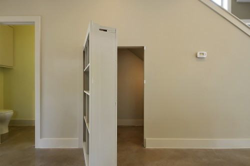 Lighting Basement Washroom Stairs: Hidden Bookcase Door To Storage Closet