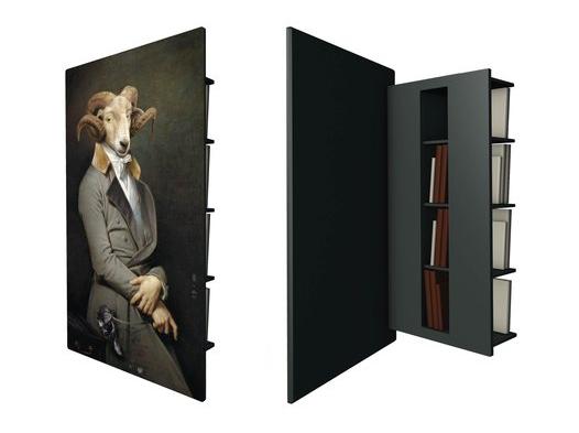Hidden Bookshelves Behind Painting