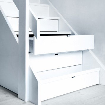 Hidden storage drawers under stairs stashvault for Under stairs drawers plans