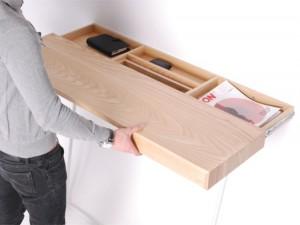 Sliding shelf with hidden internal compartments