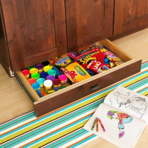 Hidden Kids Drawer Under Cabinets