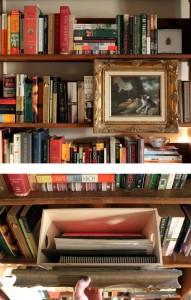 Secret Compartment Box Hidden Behind Painting on Shelf