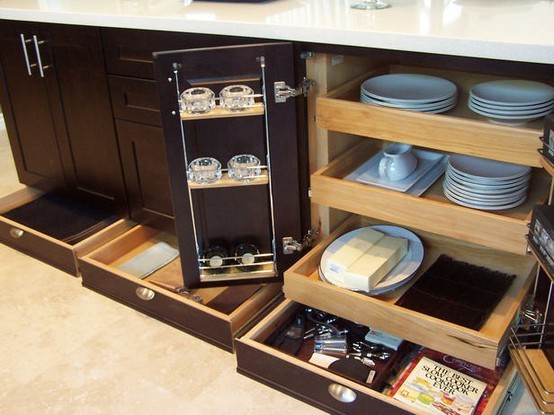 Hidden Drawer Compartment in Cabinet and Furniture Toekick