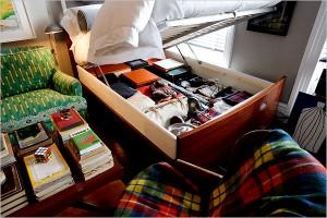 Hidden Stash Space in Bed Frame