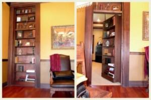 Secret moving bookcase passage