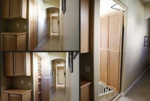Secret passage behind cabinets that swing in