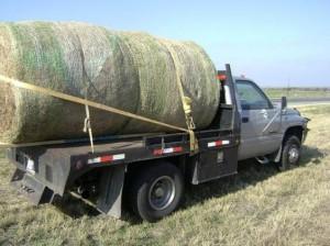 Hidden Stash in Hay Bale on Truck
