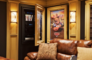 Hidden Media Compartment Behind Painting in Home Theater