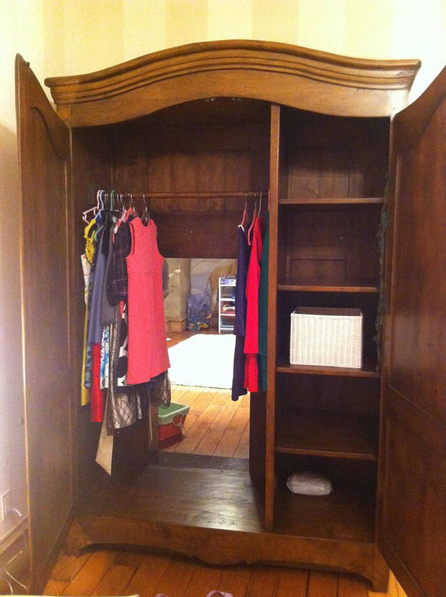 Secret Door in Wardrobe to Narnia Playroom