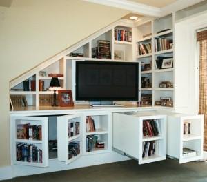 Secret bookcase doors and drawers conceal hidden storage