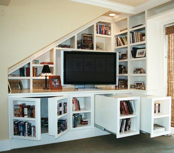 Media center with secret storage stashvault for Media center with bookshelves