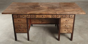 Pipe Organ Desk with Puzzle Locked Hidden Compartment