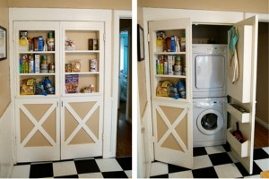 Clever built-in door shelves hide secret laundry room