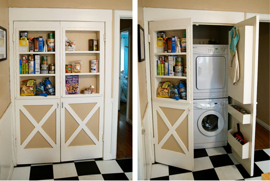 Doors with shelves conceal washer and dryer stashvault - Washer dryers for small spaces ideas ...