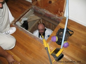 Secret trap door to clandestine drug operation