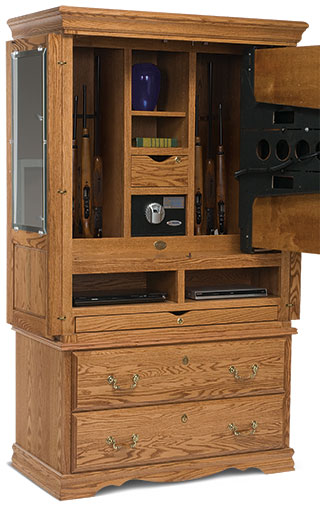 Secret gun compartment in tv cabinet stashvault for Bedroom furniture gun safe