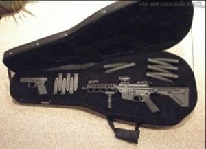 Glock and AR15 in Secret Gun Compartment Guitar Case
